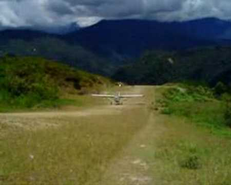 Pilatus Porter landing at 15% sloped strip