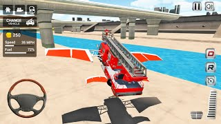 Flying Firefighter Truck Simulator 2021 - 3 Fire Engines Driving - Android Gameplay screenshot 3