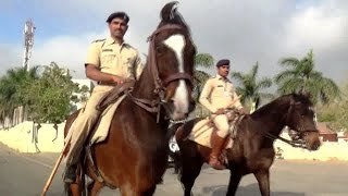 Horse riders police protection in the Maha shivratri festival fair at bhavnath - Junagadh India