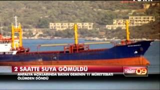 Antalya'da yük gemisi battı