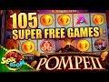 105 SUPER FREE SPINS on POMPEII ~ WONDER 4  Aristocrat ~ Video Slot in San Manuel Casino