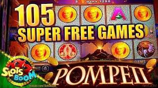 105 SUPER FREE SPINS on POMPEII ~ WONDER 4  Aristocrat ~ Video Slot in San Manuel Casino