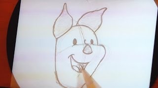 Easy: Step by Step How to Draw Piglet from Winnie the Pooh - Disney Animation Academy