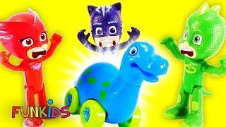 Paw Patrol with PJ Masks Transform into Dinosaurs