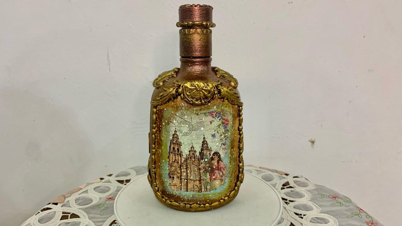 Botella metalizada envejecida, una lujosa decoración con poco dinero. DIY