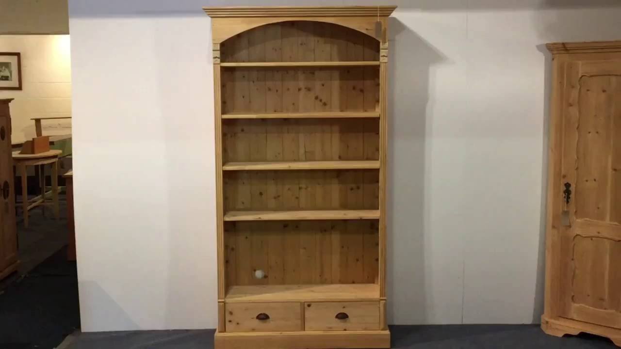 Large Pine Bookcase With Bottom Drawers Pinefinders Old Furniture Warehouse