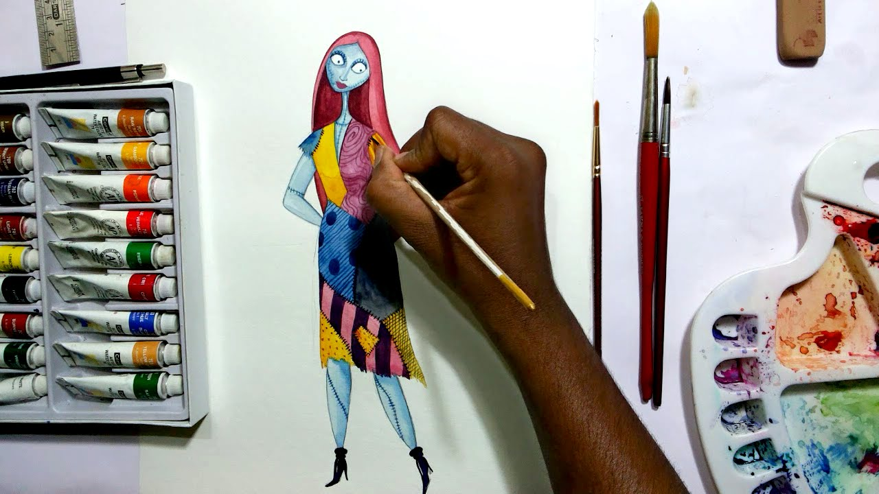 how to draw nightmare before christmas sally - YouTube