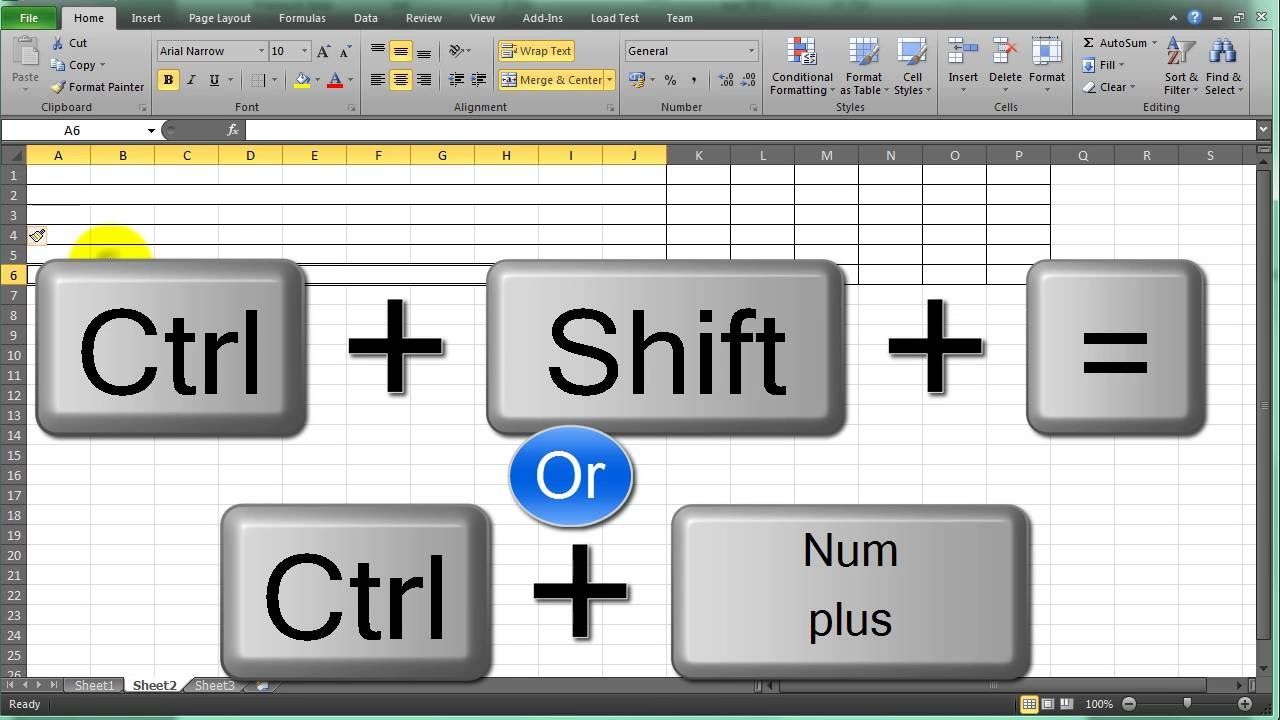 Insert Row Shortcut In Excel