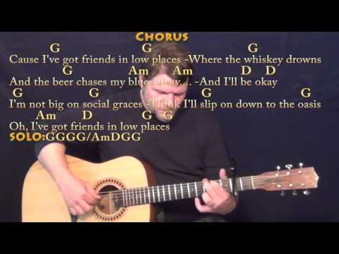 Friends in Low Places - Fingerstyle Guitar Cover Lesson with Chords/Lyrics - Capo 2nd