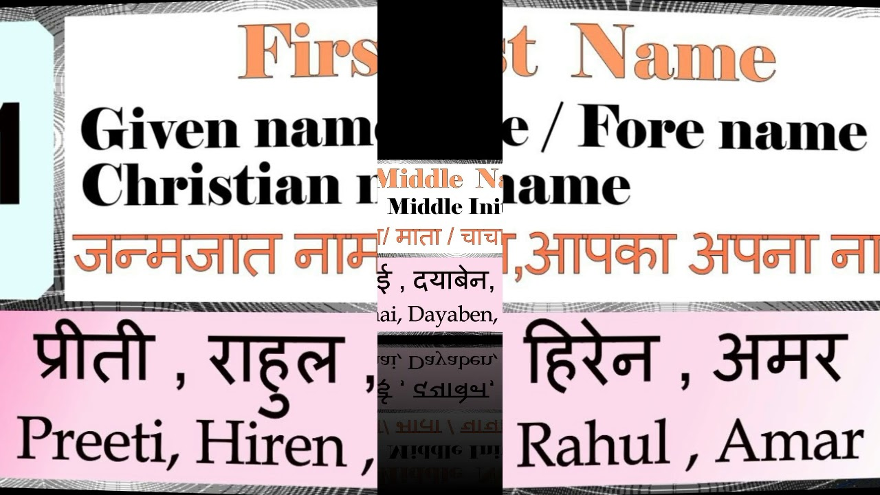 First And Last Name: First Name Meaning, Middle Name, Last Name. प्रथम नाम का