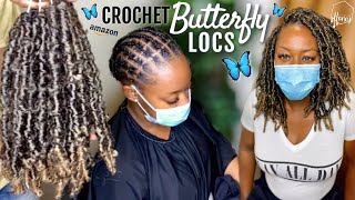 Pre-Wrapped Crochet BUTTERFLY LOCS From AMAZON 🔥 Individual Crochet Illusion 👀 Feat. KRALER HAIR