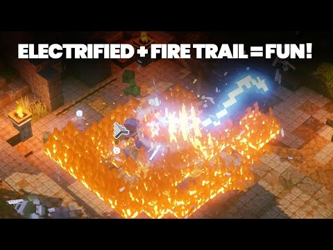 Minecraft Dungeons Electrified + Fire Trail = FUN! (Gameplay)