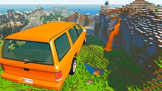 BeamNG drive - Open Bridge Jumping Car Crashes in Minecraft Map | BeamNG-Destruction