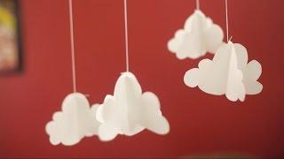 móvil de nubes en papel