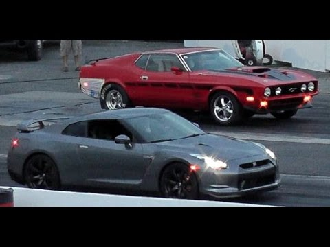 america vs japan muscle vs sports car old school mustang mach1 vs new nissan gtr who is the. Black Bedroom Furniture Sets. Home Design Ideas