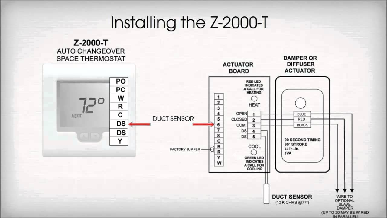 Zone One Thermostat Installation - YouTube | Hvac Damper Wiring |  | YouTube