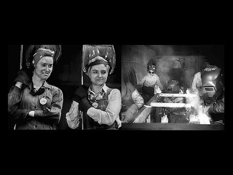 Women take over in U.S. Steel Mills in World War 2 (1943 - Restored)