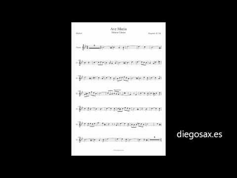 Ave María Partitura de Flauta, Violín, Saxofón, Trompeta, Clarinete, Tenor, Soprano y Trombón