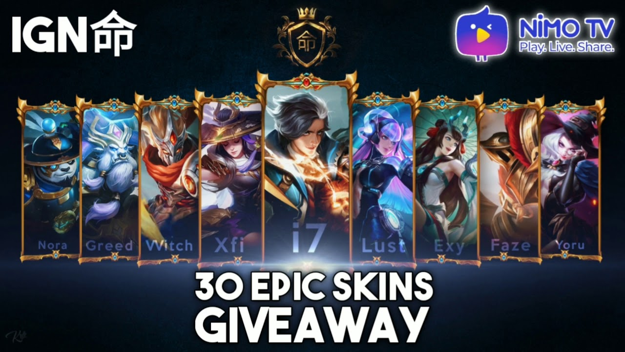 30 EPIC SKIN GIVEAWAY FROM OUR SQUAD IGN! THE BIGGEST EVER ...