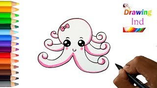 HOW TO DRAW A SWEET AND CUTE  SQUID  ||  EASY CUTE DRAWING OF ANIMALS