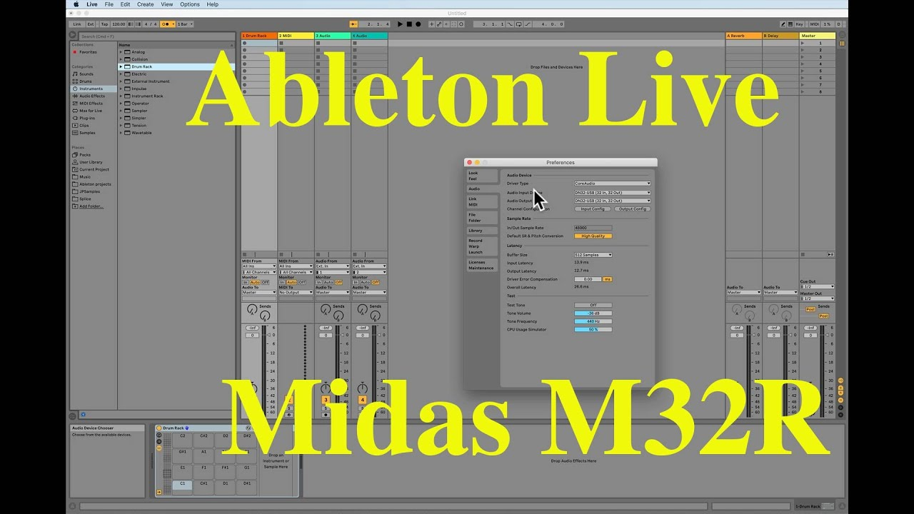 Midi click to master in Ableton to Midas M32R
