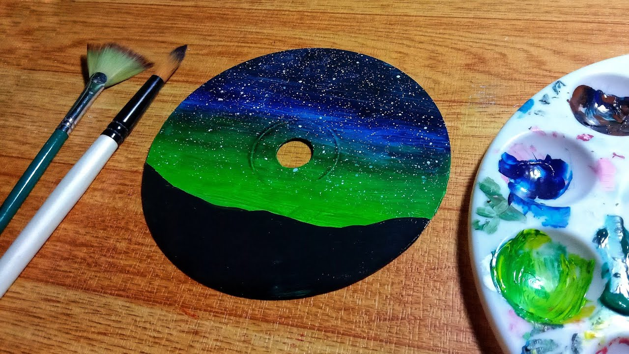How to Paint on a CD   Aurora Night Sky   Easy Step-by-Step Tutorial for Beginners - YouTube