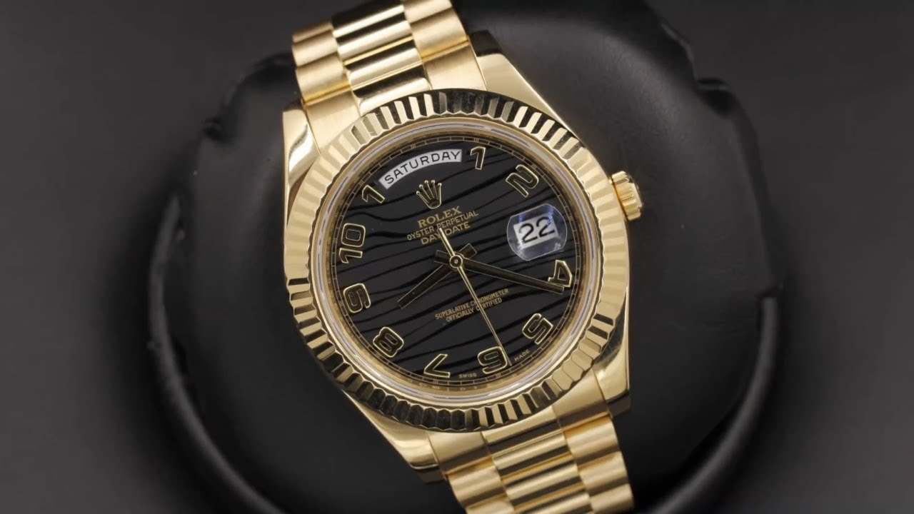 84e1bbd8539f3 Rolex Day-Date II 218238 Black Wave Arabic Dial 41 mm Yellow Gold ...