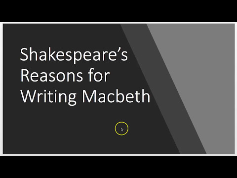 Shakespeare's Reason for Writing Macbeth: King James, Witchcraft and Money