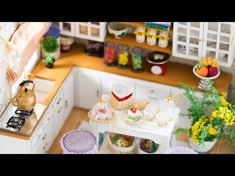 DIY Dollhouse Kit - Miniature Kitchen with Working Lights