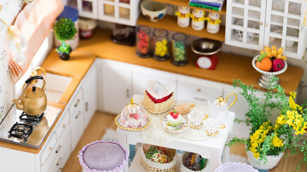 Miniature Dollhouse Kitchen Furniture Diy Dollhouse Kit Miniature Kitchen With Working Lights Youtube