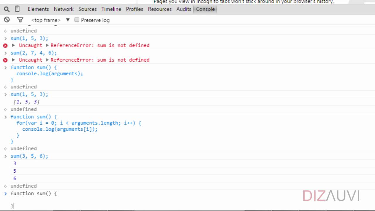 Javascript tutorial :: Functional Programming:: Variable number of  arguments (46/65)