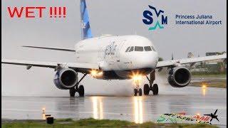 Wet Departure !!! JetBlue A320 blasting out of St. Maarten Princess Juliana Int'l Airport