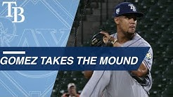 Carlos Gomez takes the mound for first time in career