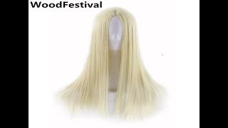 WoodFestival 9 Colors Women Long Straight Cosplay Wigs Blue Red Burgundy Silver Brown Black Blond...