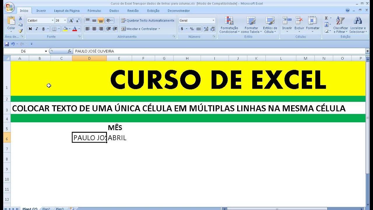 Curso de Excel Colocar texto de uma única célula em