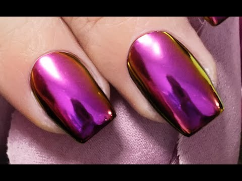 MIRROR POWDER AMETHYST PURPLE NAILS Step by Step - Nails 21 - YouTube