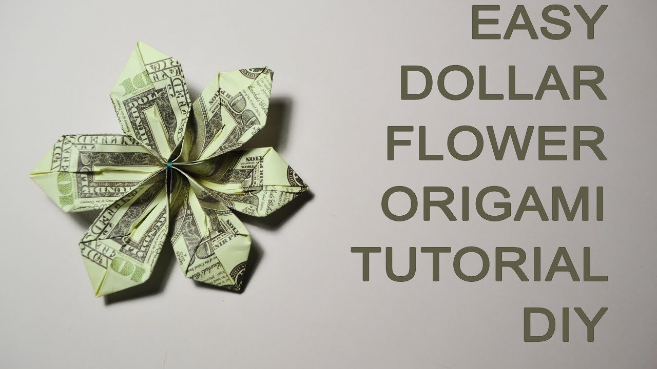 Easy Dollar Money Flower Origami Tutorial Diy Bills Gift Paper Youtube