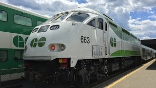 GO Transit HD 60 FPS: MPI MP40PH-3C Lakeshore East Line Trains @ Rouge Hill Station 7/2/16