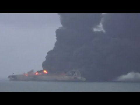 Fire continues to rage on stricken Iranian oil tanker on Sunday