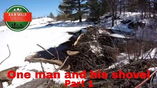 One man and his Shovel, SOLO survival weekend, NO FOOD, NO WATER or CONTAINER,