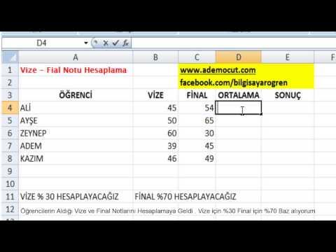 Excel ile Vize ve Final Notu Nasıl Hesaplanır