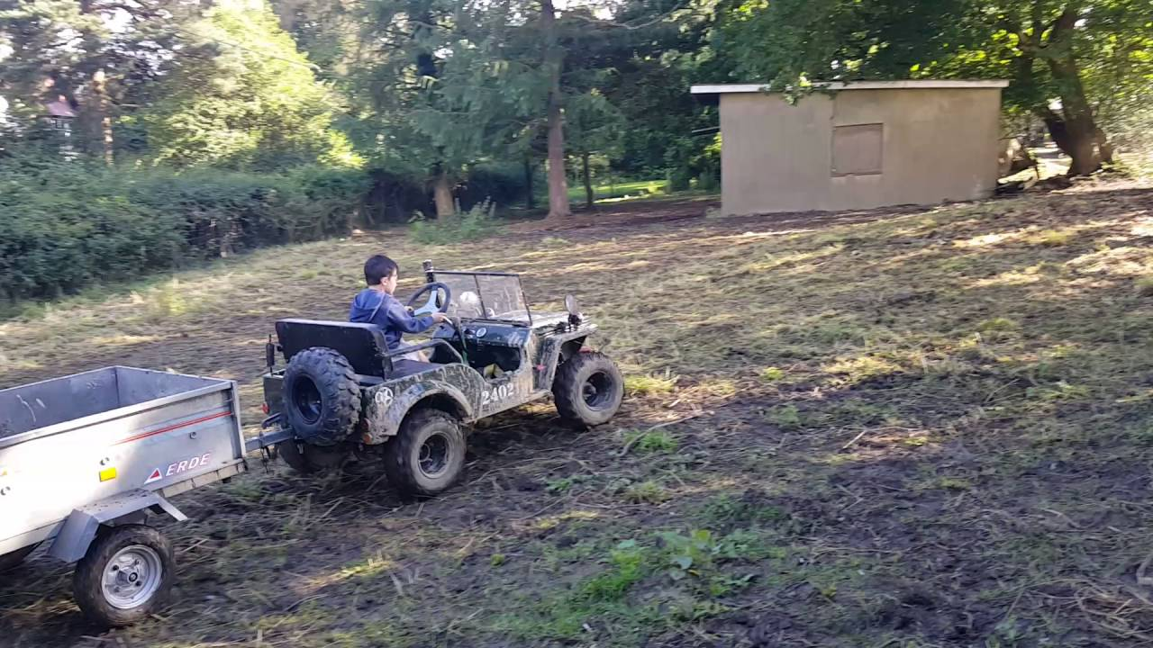 Willys Jeep 2016 >> 150cc mini willys jeep & trailer in garden 5 year old driver - YouTube