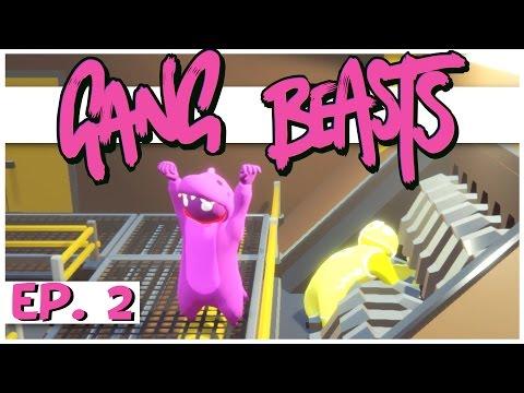 Gang Beasts Multiplayer - Ep. 2 - Purple Dinosaur of Doom! - Online Gang Beasts Gameplay