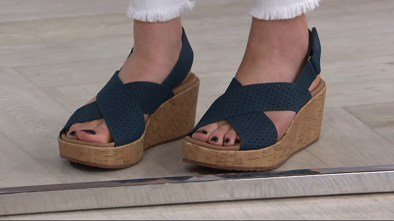 aad9ff75b20 Clarks Perforated Nubuck Cork Wedge Sandals - Stasha Bridget on QVC ...