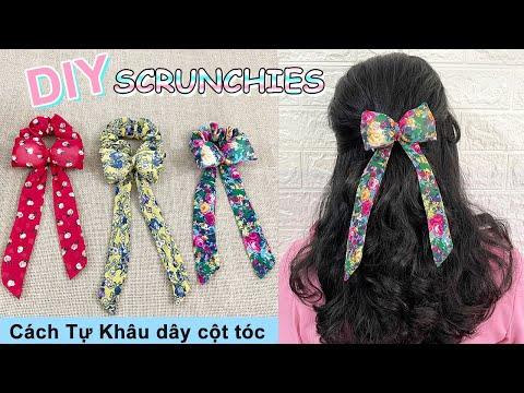 Cách làm dây Cột Tóc Nơ   DIY Bow Scrunchies   How to Make Bow Scrunchies   Liam Channel