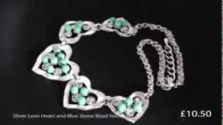Silver Love Heart and Blue Stone Bead Necklace Thumbnail