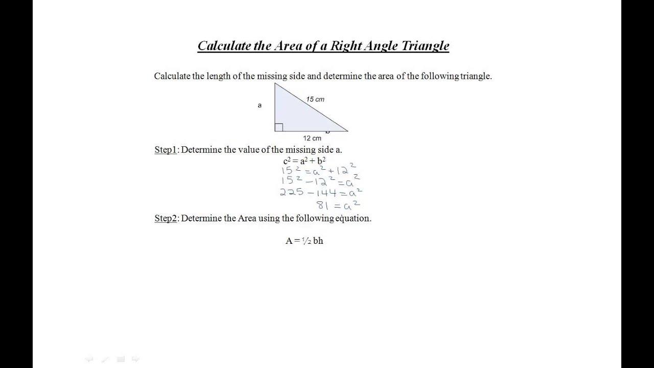Calculate the Area of a Right Angle Triangle