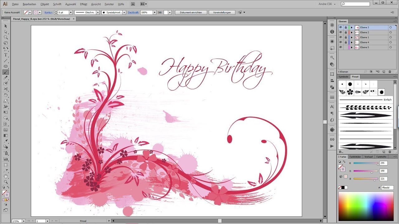 Adobe Illustrator Tutorial - Floral Happy Birthday - YouTube