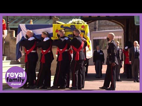 The Duke of Edinburgh's Coffin Arrives at St George's Chapel