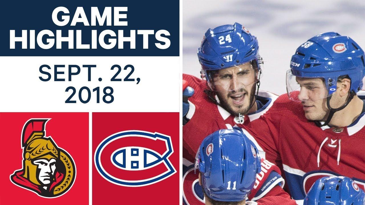 NHL Pre-season Highlights   Senators vs. Canadiens - Sept. 22, 2018